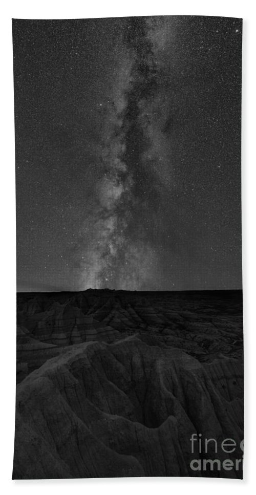 Panorama Point Hand Towel featuring the photograph Panorama Point Milky Way Badlands Bw by Michael Ver Sprill