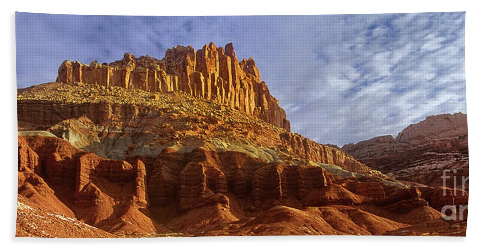 North America Bath Sheet featuring the photograph Panorama The Castle On A Cloudy Morning Capitol Reef National Park by Dave Welling