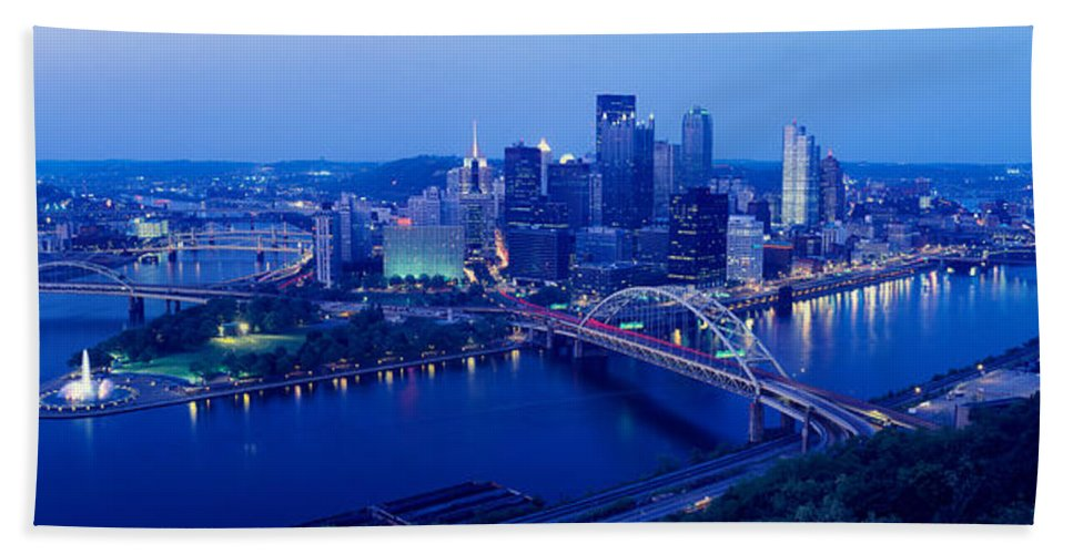 Photography Bath Sheet featuring the photograph Panoramic Evening View Of Pittsburgh by Panoramic Images