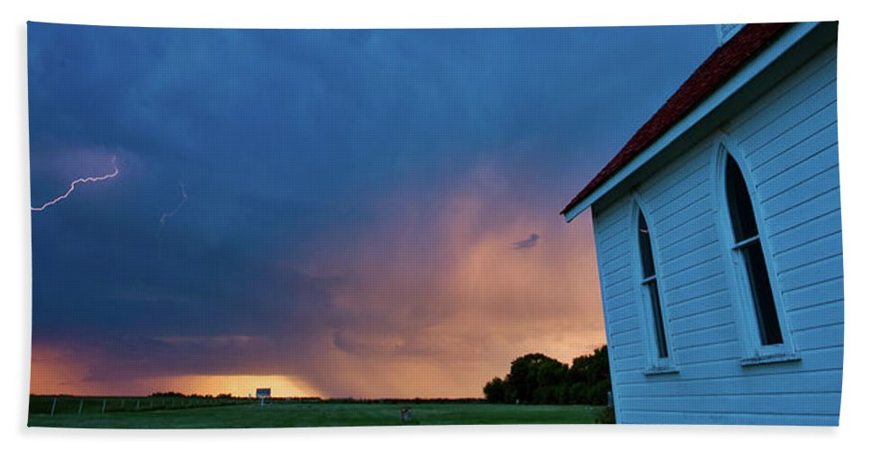 Hand Towel featuring the digital art Panoramic Lightning Storm And Church by Mark Duffy