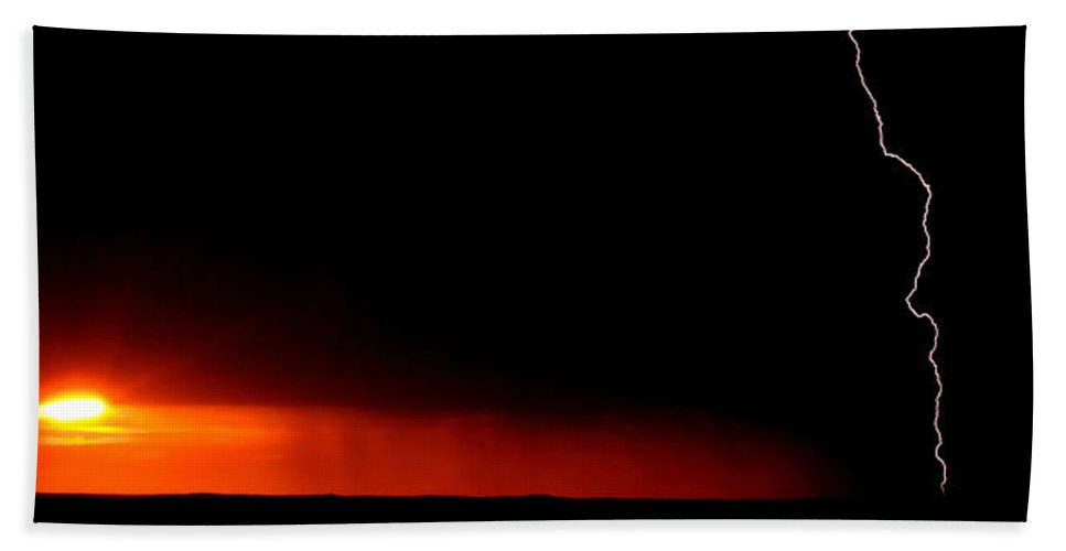 Hand Towel featuring the digital art Panoramic Lightning Storm And Sunset by Mark Duffy