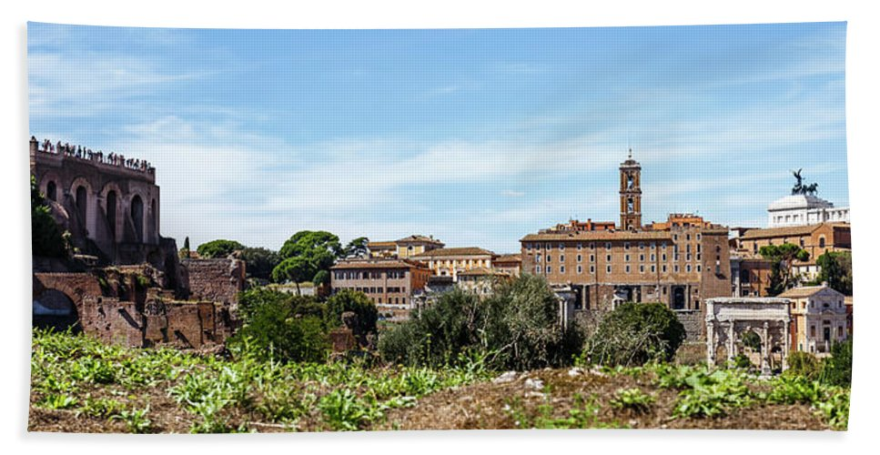 Roman Bath Sheet featuring the photograph Panoramic View Of Rome by Cara Koch