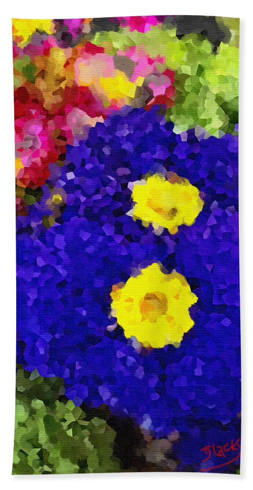 Floral Hand Towel featuring the digital art Pansies by Donna Blackhall