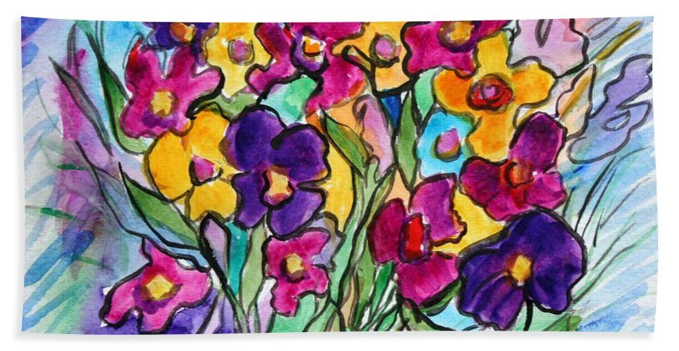Flowers Bath Towel featuring the painting Pansies by Luiza Vizoli