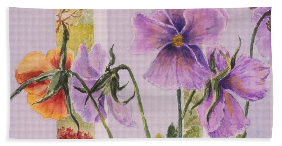 Florals Bath Towel featuring the painting Pansies On My Porch by Mary Ellen Mueller Legault