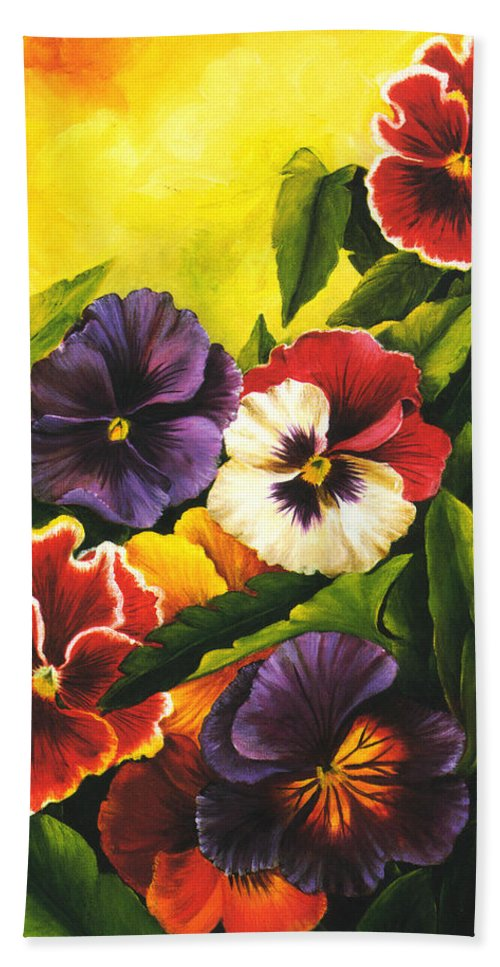 Flowers Hand Towel featuring the painting Pansies Or Vuela Mis Pensamientos by Dominica Alcantara