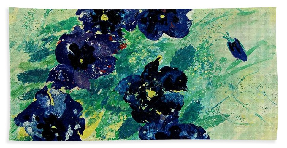 Flowers Hand Towel featuring the painting Pansies by Pol Ledent