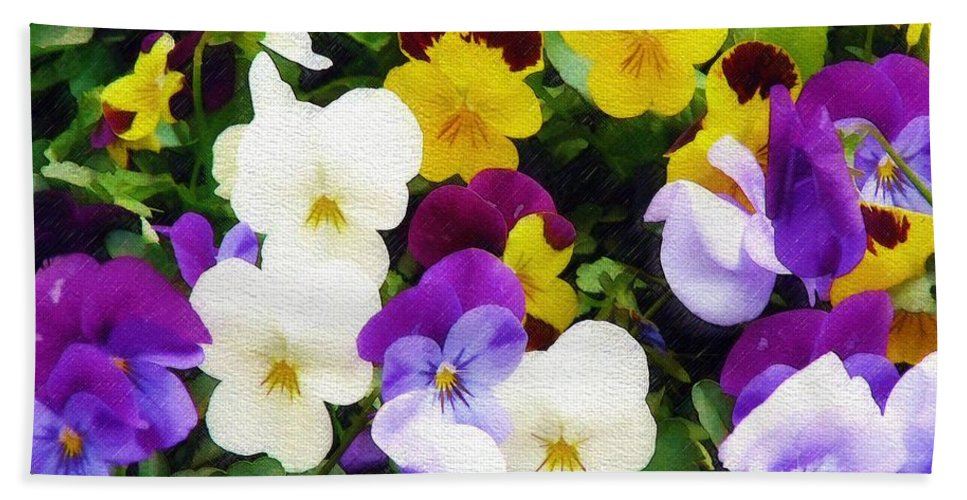Pansies Bath Sheet featuring the photograph Pansies by Sandy MacGowan