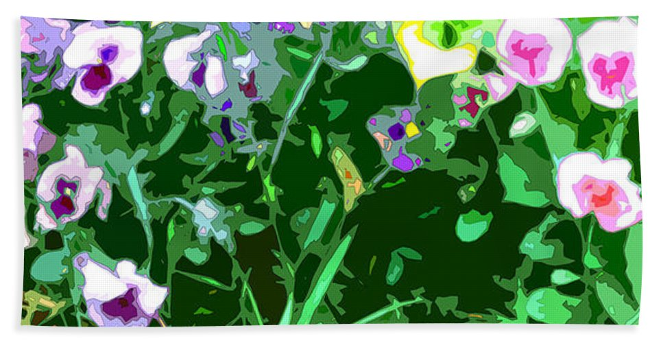 Abstract Hand Towel featuring the digital art Pansy Flower Garden by Linda Mears