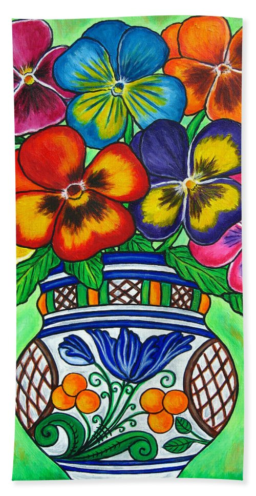 Flower Bath Towel featuring the painting Pansy Parade by Lisa Lorenz