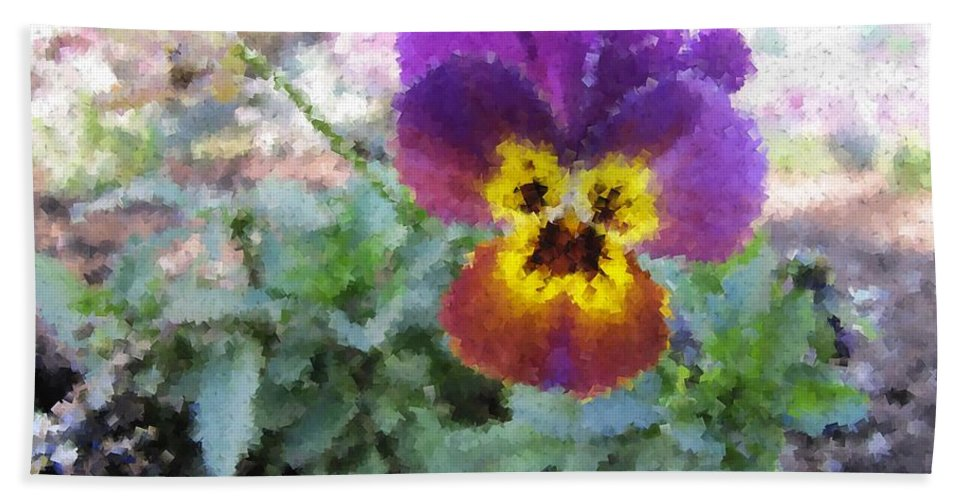 Flower Hand Towel featuring the digital art Pansy Perfection by Tim Allen