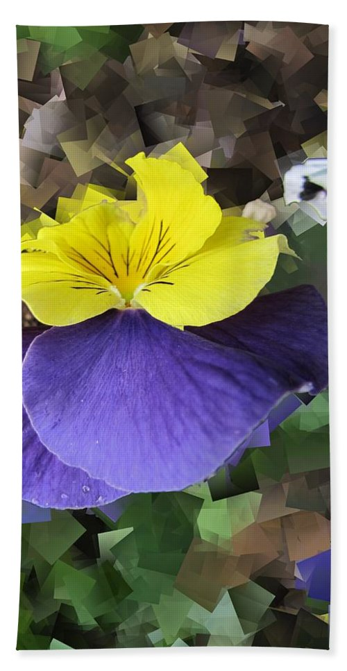 Pansy Hand Towel featuring the digital art Pansy Squared by Tim Allen