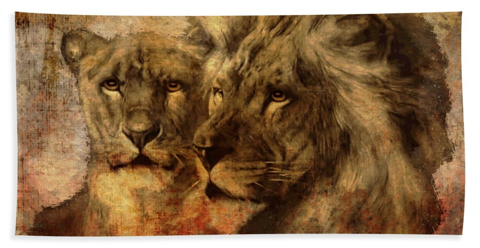 Lion Hand Towel featuring the digital art Panthera Leo 2016 by Kathryn Strick