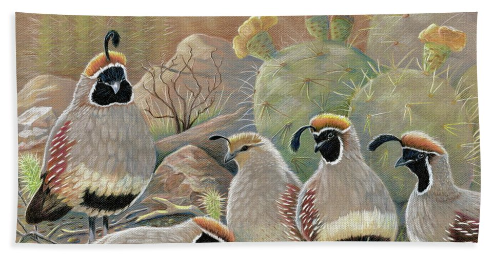 Desert Quail Bath Sheet featuring the drawing Papa Grande by Marilyn Smith