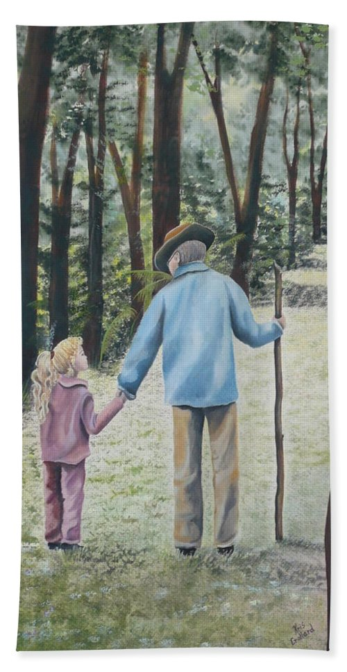 Grandfather Hand Towel featuring the painting Papa by Kris Crollard