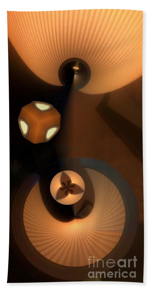 Collage Bath Towel featuring the digital art Paper Lamps by Ron Bissett