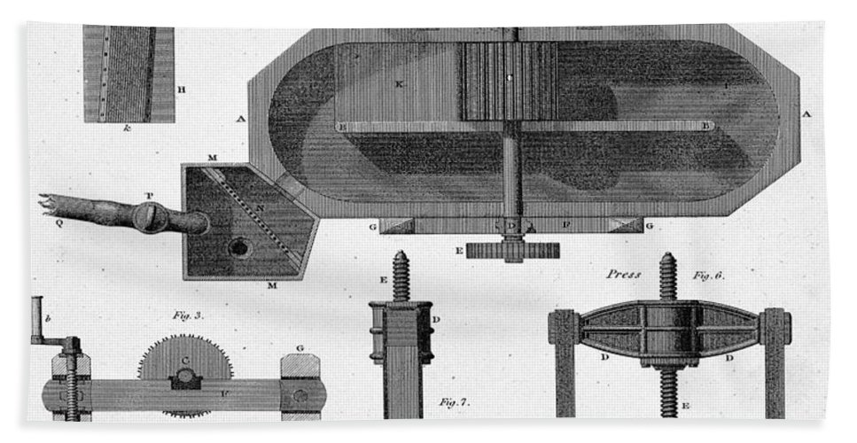 Historic Bath Sheet featuring the photograph Paper Mill Diagram, 1814 by Wellcome Images