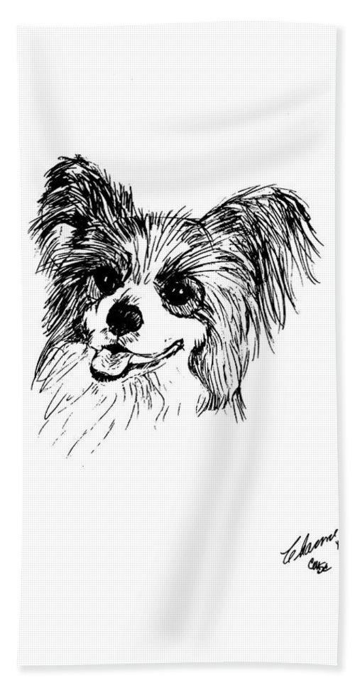 Papillon Bath Sheet featuring the drawing Papillon by Charme Curtin