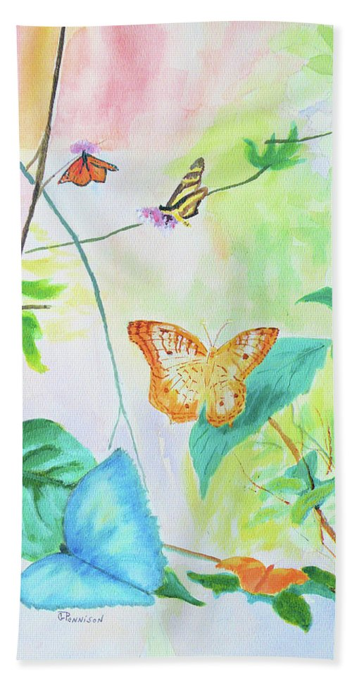 Painting Bath Sheet featuring the painting Papillon by Gilbert Pennison