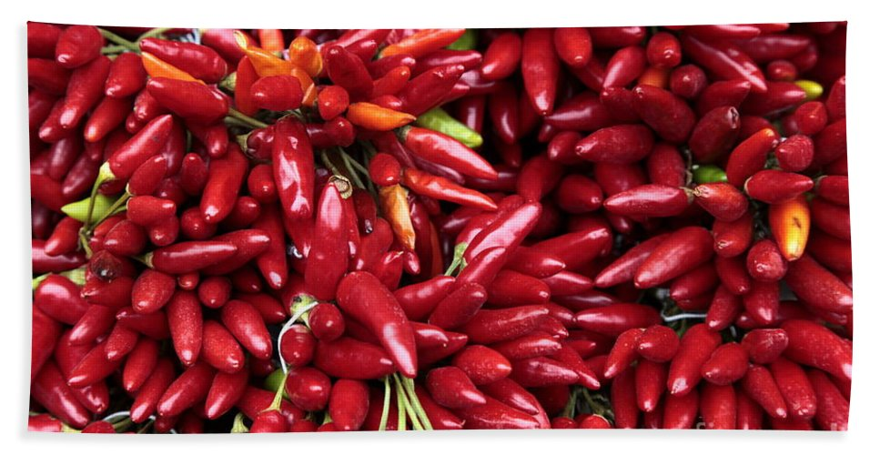 Paprika Hand Towel featuring the photograph Paprika Peppers At A Market Stall. by Vladi Alon