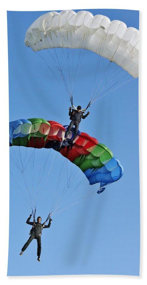 Air Bath Sheet featuring the photograph Parachutists Biplane by Vadzim Kandratsenkau