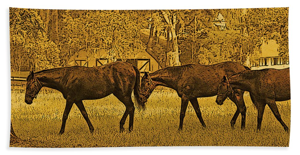 Horses Bath Sheet featuring the digital art Parade In The Shade On A Hot Afternoon by Claudia O'Brien