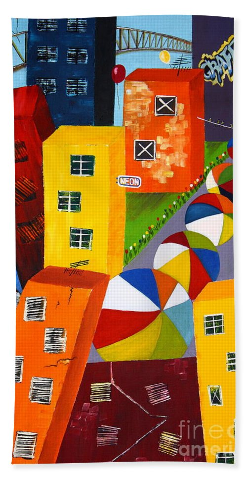 City Hand Towel featuring the painting Parade The Day After by Barbara Teller