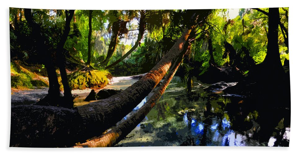 Paradise Bath Sheet featuring the painting Paradise found by David Lee Thompson