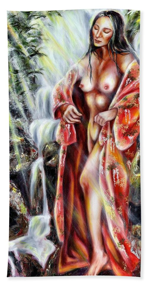 Japanese Woman Bath Towel featuring the painting Paradise by Hiroko Sakai
