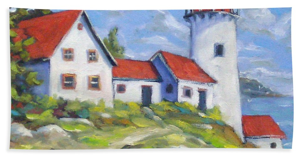 Art Bath Towel featuring the painting Paradise On The Point by Richard T Pranke