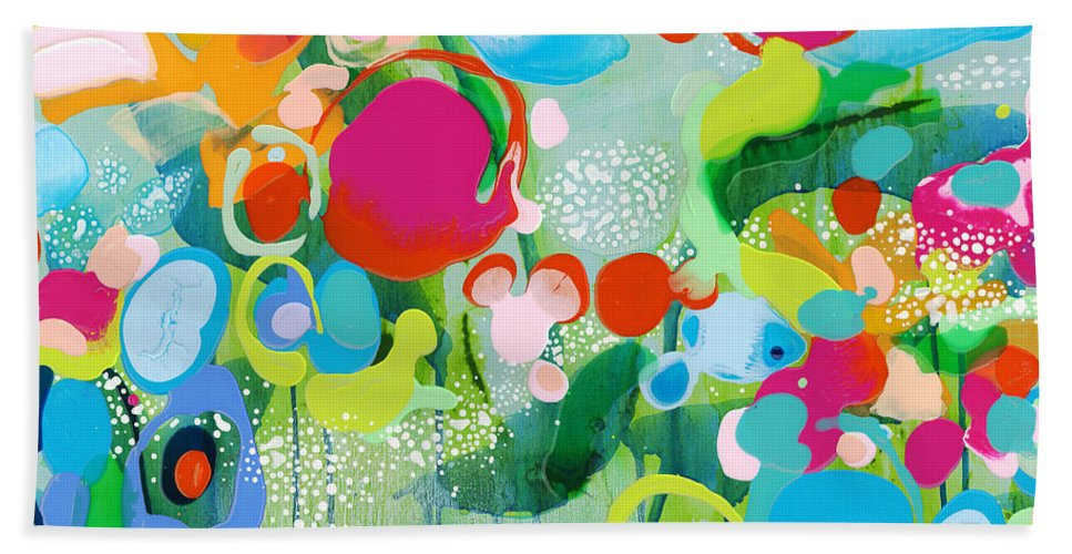 Abstract Hand Towel featuring the painting Paradise Outer Limits by Claire Desjardins