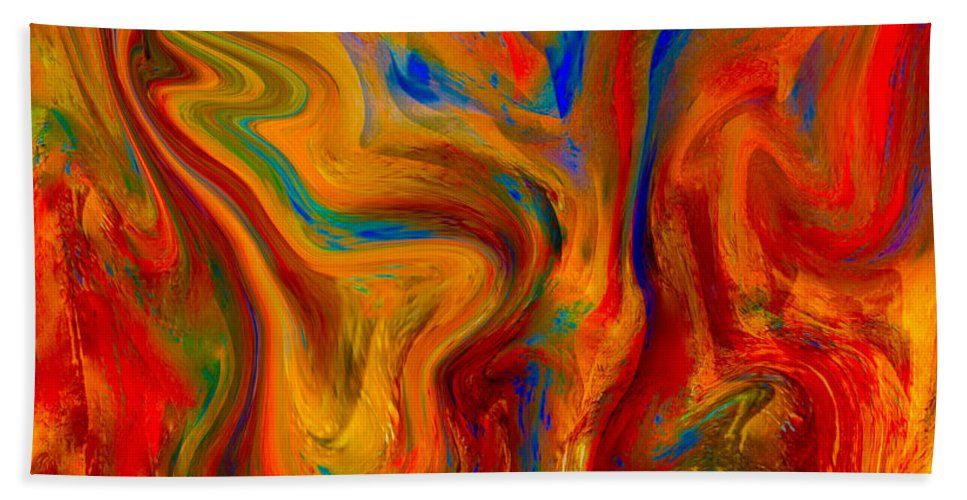 Painting-abstract Acrylic Hand Towel featuring the mixed media Paradise Sands On Palace Walls by Catalina Walker