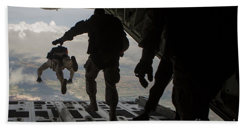 Spain Bath Sheet featuring the photograph Paratroopers Jump Out Of A Kc-130j by Stocktrek Images