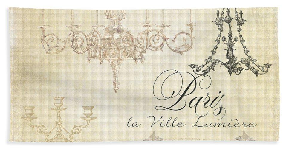 Parchment Bath Sheet featuring the painting Parchment Paris - City Of Light Chandelier Candelabra Chalk by Audrey Jeanne Roberts