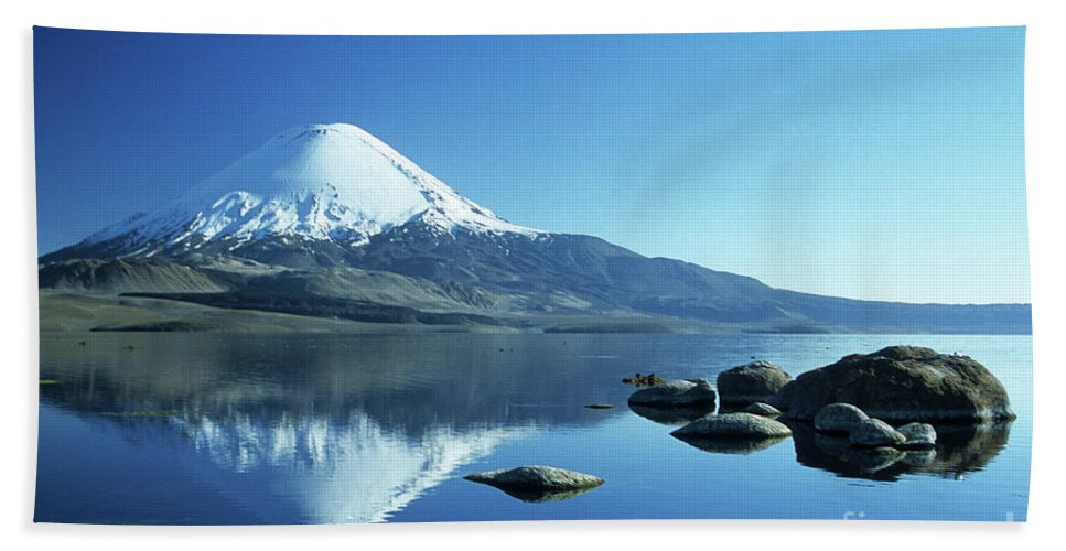 Chile Bath Towel featuring the photograph Parinacota Volcano Reflections Chile by James Brunker