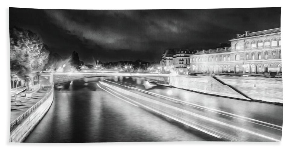 Paris Hand Towel featuring the photograph Paris At Night 19 Bw Art by Alex Art and Photo