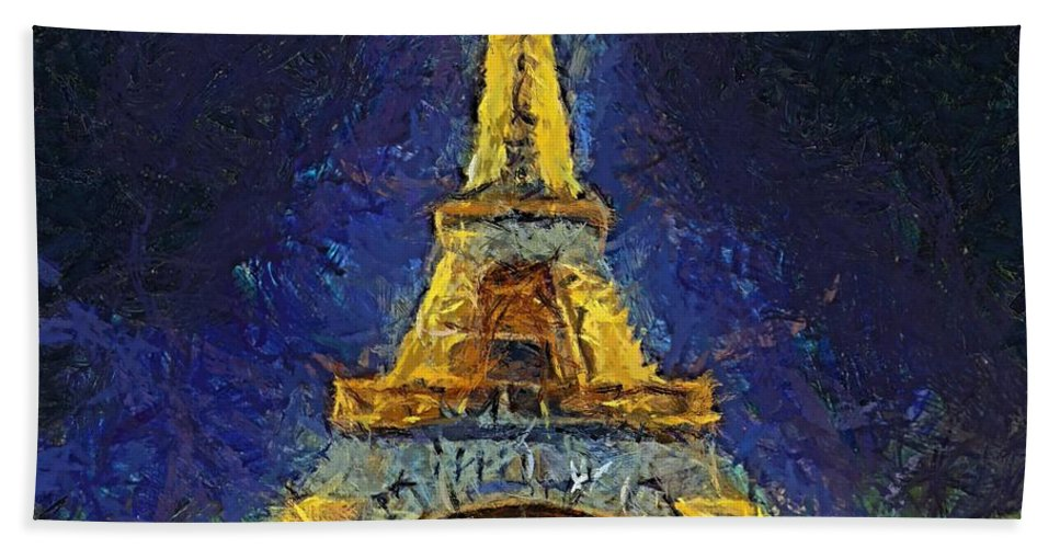 Landscapes Hand Towel featuring the painting Paris By Night by Dragica Micki Fortuna
