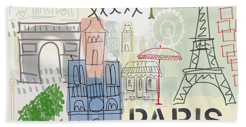 Paris Hand Towel featuring the painting Paris Cityscape- Art by Linda Woods by Linda Woods