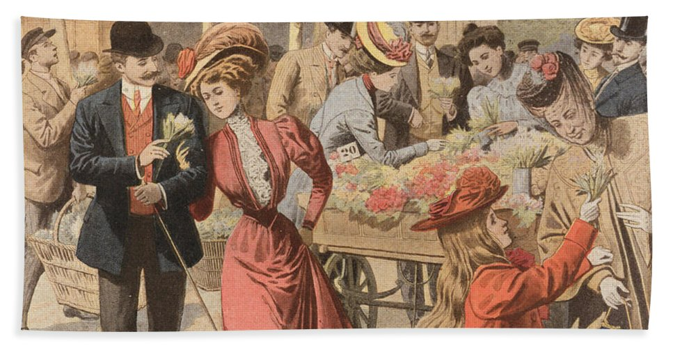 Flower Bath Towel featuring the painting Paris Flower Market by French School