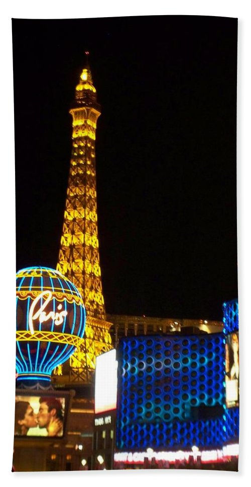 Vegas Bath Sheet featuring the photograph Paris Hotel At Night by Anita Burgermeister