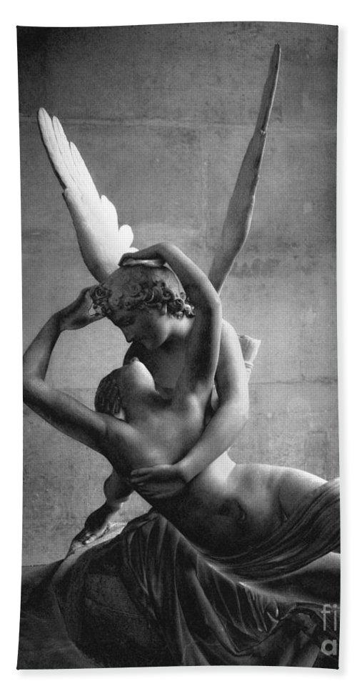 Paris hand towel featuring the photograph eros and psyche romantic lovers paris eros psyche louvre