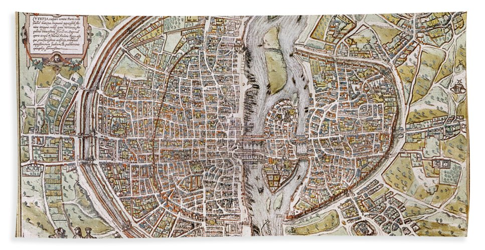 1581 Hand Towel featuring the photograph Paris Map, 1581 by Granger
