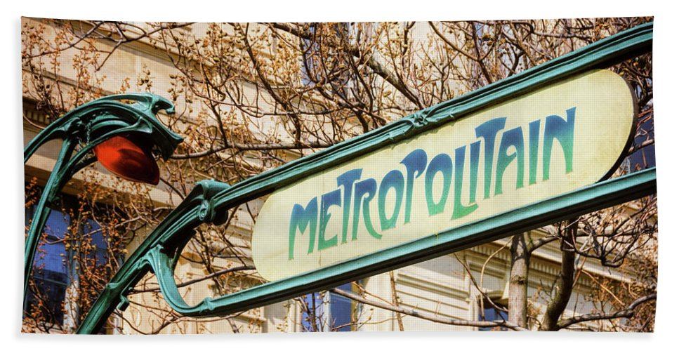 Joan Carroll Hand Towel featuring the photograph Paris Metro Sign Color by Joan Carroll