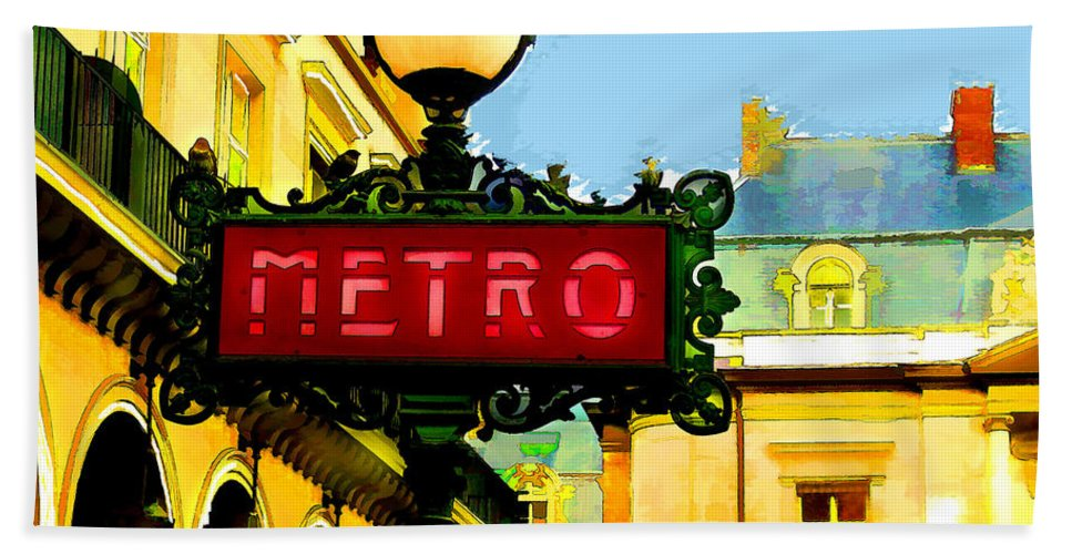 Cityscape Hand Towel featuring the painting Paris Metro Stop by Elaine Plesser