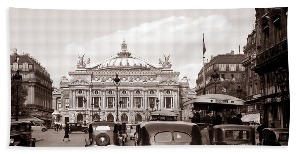 Paris Bath Sheet featuring the photograph Paris Opera 1935 Sepia by Andrew Fare