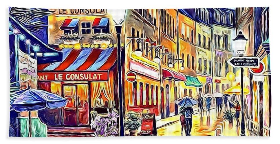 Paint Hand Towel featuring the painting Paris Street Abstract 2 by Nenad Vasic