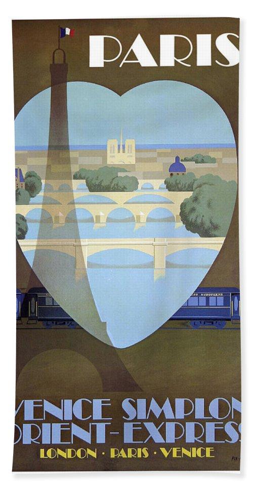 Paris Bath Towel featuring the painting Paris Venice Railway, Orient Express by Long Shot
