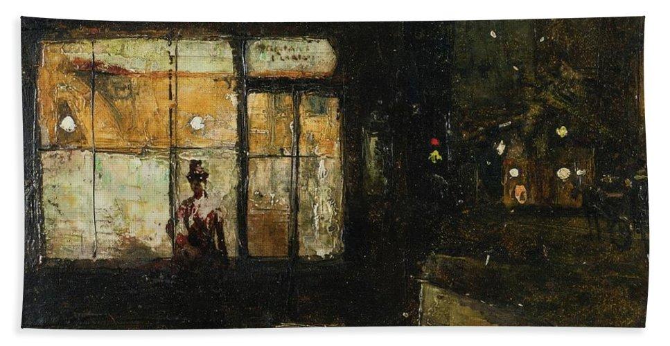 Lesser Ury 1861-1931 Parisian Boulevard At Night Bath Sheet featuring the painting Parisian Boulevard At Night by Lesser Ury