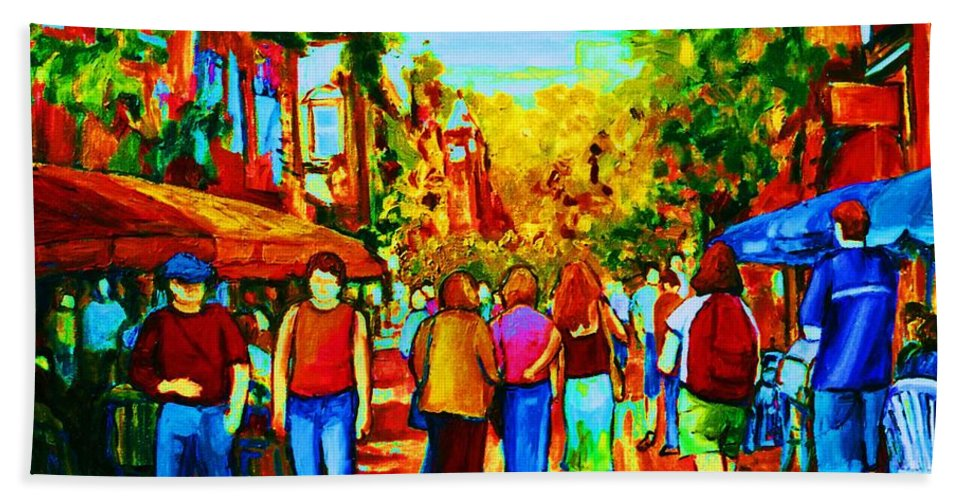 Cafe Scenes Hand Towel featuring the painting Parisian Cafes by Carole Spandau