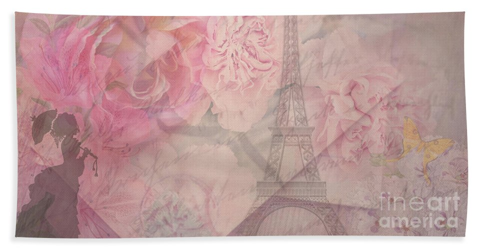 Paris Bath Sheet featuring the digital art Parisian Romantic Collage by Leah McPhail